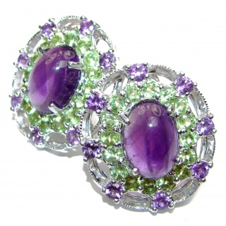 Vintage Design Authentic Amethyst Peridot .925 Sterling Silver handmade earrings