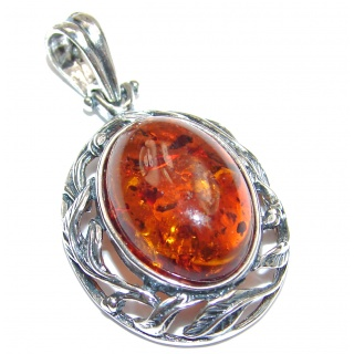 Cherry natural Baltic Amber .925 Sterling Silver handmade Pendant