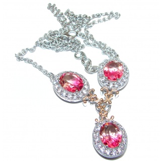 Oval cut Bi-color color Pink Topaz 18K Gold over .925 Sterling Silver handcrafted necklace
