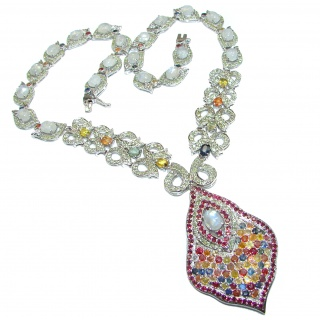 Spectacular Creation genuine Tourmaline Moonstone .925 Sterling Silver handcrafted Necklace