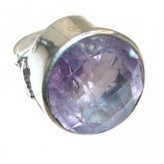 Jumbo Vintage Style Amethyst .925 Sterling Silver handmade Cocktail Ring s. 10