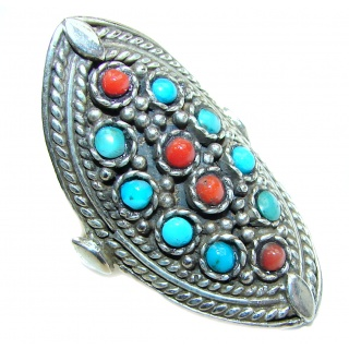 Natural Fossilized Coral Turquoise .925 Sterling Silver handmade ring s. 9 3/4