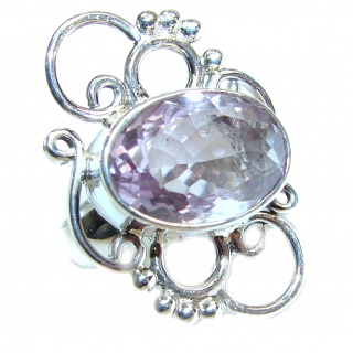 Jumbo Vintage Style Amethyst .925 Sterling Silver handmade Cocktail Ring s. 7 1/4