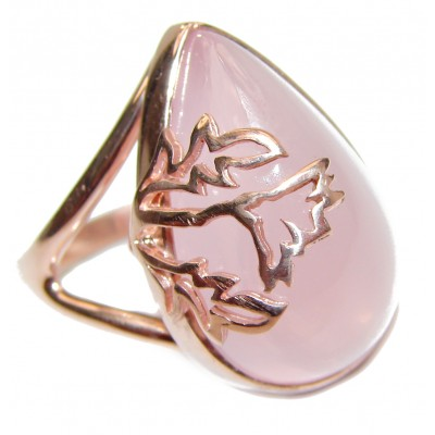 Authentic Rose Quartz Rose Gold .925 Sterling Silver handcrafted ring s. 8 1/2