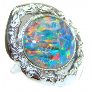 Australian Triplet Opal .925 Sterling Silver handcrafted ring size 6 1/2