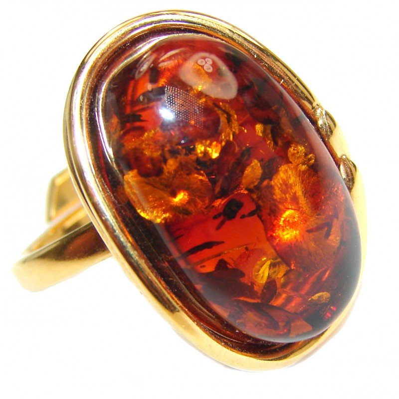 Huge Authentic Baltic Amber 18K Gold .925 Sterling Silver handcrafted ring; s. 7 adjustable