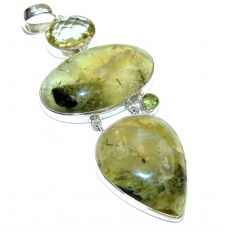 Large Best quality Natural Moss Prehnite .925 Sterling Silver handmade Pendant