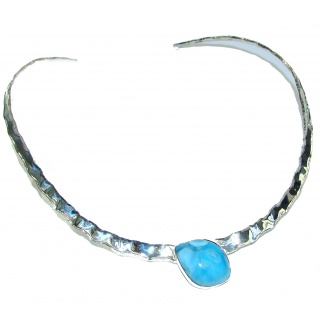 Gallery Piece Natural Larimar Hammered .925 Sterling Silver necklace Chocker