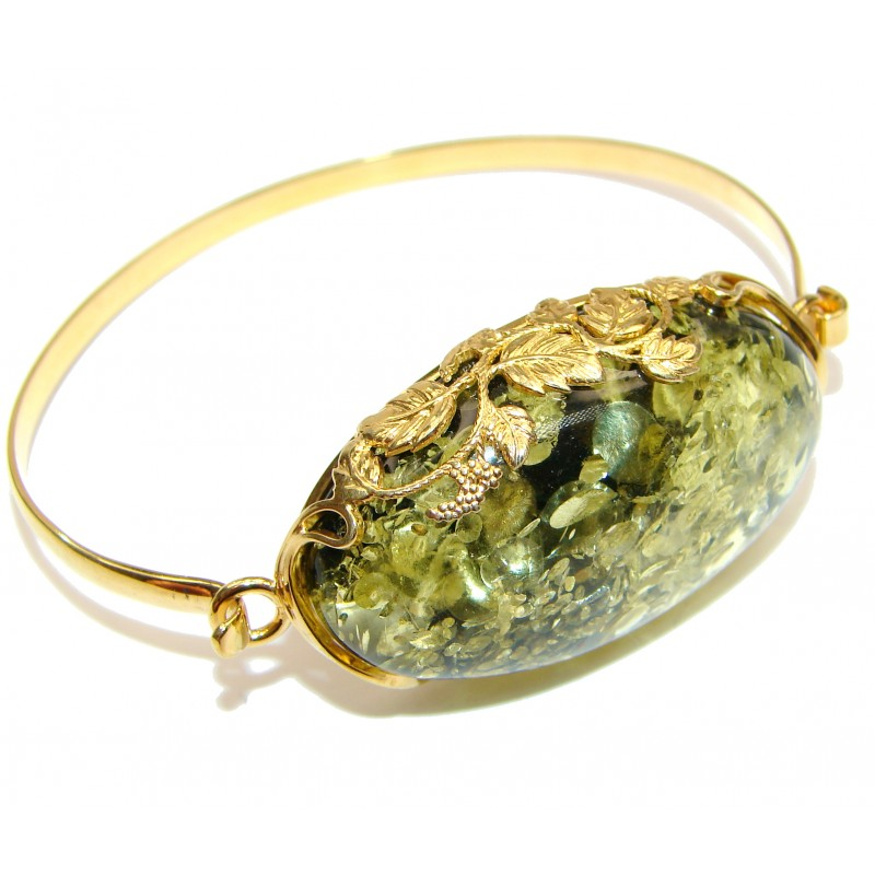 Real Treasure Genuine Green Amber Gold over .925 Sterling Silver Bracelet