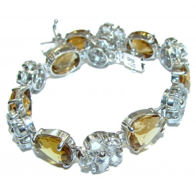 LARGE Get Glowing Champagne Topaz .925 Sterling Silver handcrafted Bracelet