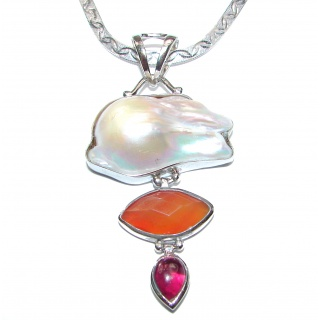 Classy Natural Mother of Pearl .925 Silver handcrafted Necklace