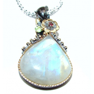 Great Masterpiece genuine Moonstone .925 Sterling Silver handmade necklace