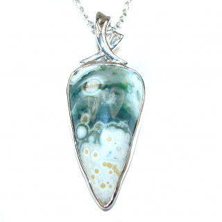 Ocean Inspired genuine Ocean Jasper .925 Sterling Silver handmade necklace