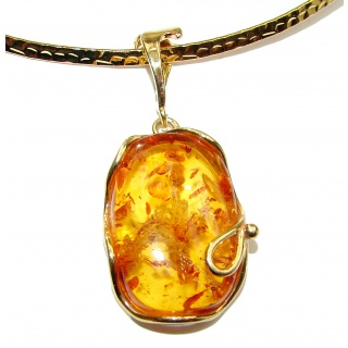 Natural Baltic Amber 14K Gold over .925 Sterling Silver handcrafted necklace