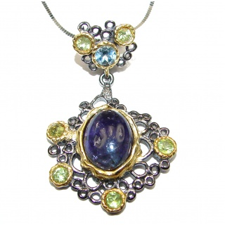 Natural Tanzanite 18K Gold over . 925 Silver Necklace