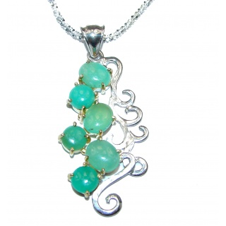 Natural Chrysoprase Sterling Silver handmade necklace