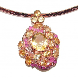 Luxurious Natural Rich Ruby Citrine .925 Sterling Silver handcrafted Necklace