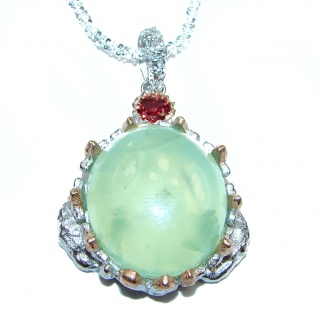 Large Genuine Moss Prehnite .925 Sterling Silver handmade Necklace