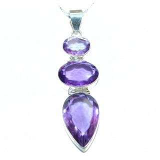 Purple Queen Huge authentic Amethyst .925 Sterling Silver handcrafted necklace