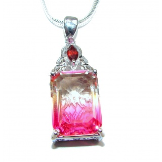 Emerald cut Pink Tourmaline .925 Sterling Silver handcrafted necklace