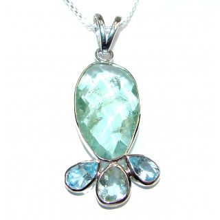 Bohemian Style Natural Green Amethyst .925 Sterling Silver handcrafted necklace