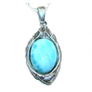 Gallery Piece Natural Larimar Hammered .925 Sterling Silver necklace