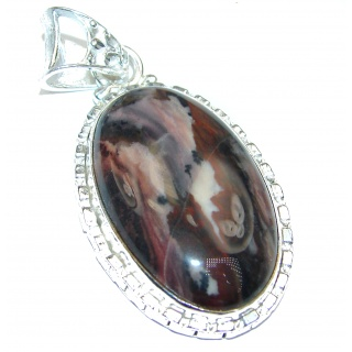 Unique Natural Jasper .925 Sterling Silver handmade Pendant