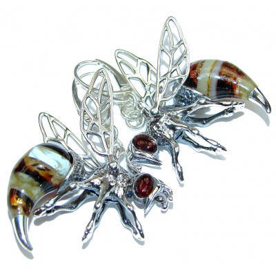 Wonderful Large Honey Bees Baltic Mosaic Amber .925 Sterling Silver entirely handcrafted earrings