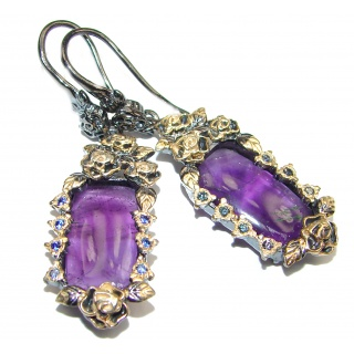 Floral design Amethyst 14.925 Sterling Silver handmade Earrings