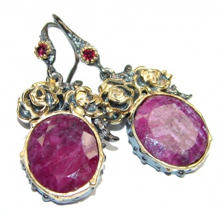 Carmen Authentic Ruby 14K Gold over .925 Sterling Silver handmade earrings