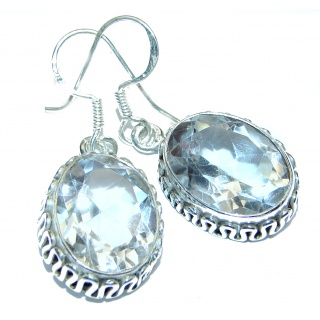 Chunky White Topaz .925 Sterling Silver handcrafted earrings