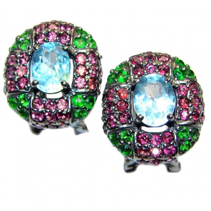 Rich Design Swiss Blue Topaz black rhodium .925 Sterling Silver handcrafted earrings