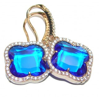 Classy Clover Lab. Sapphire 18K Gold over .925 Sterling Silver handcrafted earrings