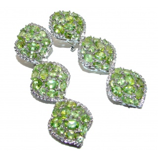 Large Incredible quality Authentic Peridot .925 Sterling Silver handmade earrings