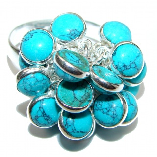 Turquoise .925 Sterling Silver handmade CHA CHA ring s. 9