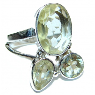 Vintage Style Natural Citrine 18K Gold over .925 Sterling Silver handcrafted Ring s. 9