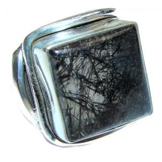 Mysterious Tourmalinated Quartz Sterling Silver handmad ring s. 7 3/4