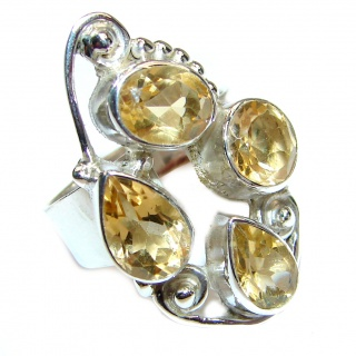 Vintage Style Natural Citrine .925 Sterling Silver handcrafted Ring s. 6 1/2