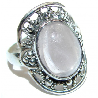 Authentic Rose Quartz .925 Sterling Silver handcrafted ring s. 8 1/4