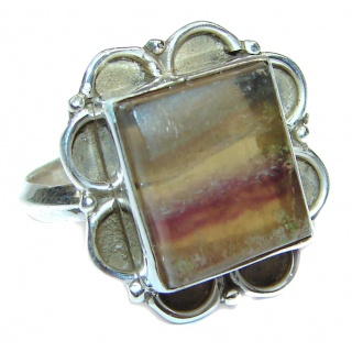 Excellent quality Fluorite .925 Sterling Silver Ring s. 7 3/4