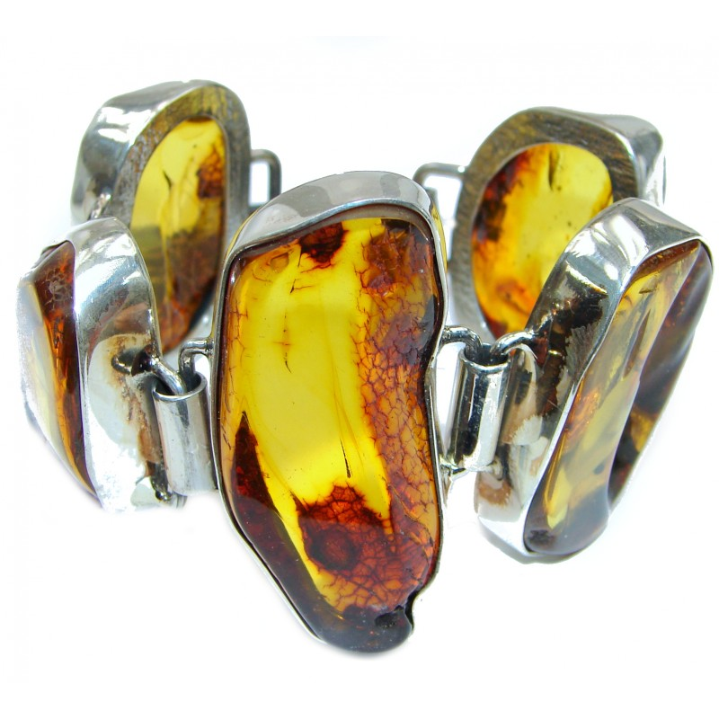 Large Beautiful authentic Baltic Amber .925 Sterling Silver handcrafted Bracelet