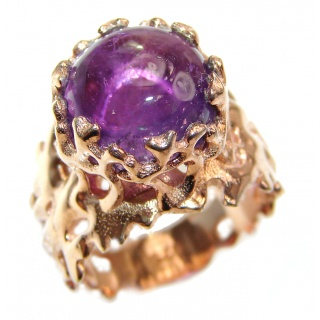 Spectacular genuine 19ctw Amethyst .925 Sterling Silver handcrafted Ring size 7