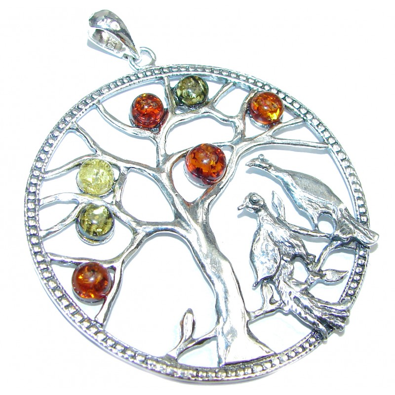 Large Perfect Family Tree Baltic Amber .925 Sterling Silver Pendant