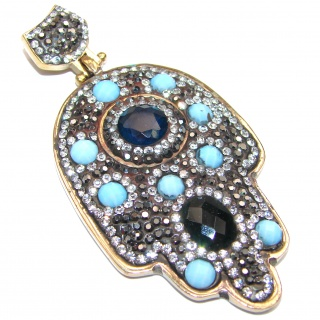 Protective Hamsa Hand Onyx & Opalite .925 Sterling Silver Pendant