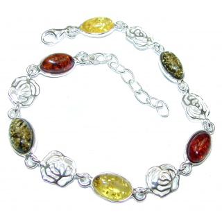 Beautiful authentic Baltic Polish Amber .925 Sterling Silver handcrafted Bracelet