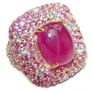 Large Genuine 20ctw Ruby Diamnond 24K Gold over .925 Sterling Silver handcrafted Statement Ring size 6 1/4