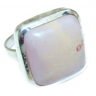 Pink Opal oxidized .925 Sterling Silver handcrafted ring size 7