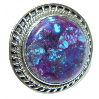 Huge Purple Turquoise .925 Sterling Silver handcrafted ring; s. 9