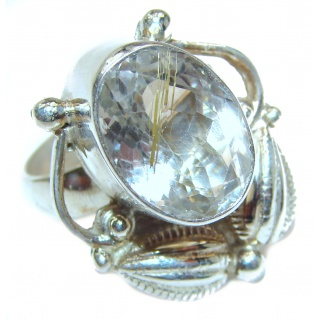 Large Victorian Style White Topaz Sterling Silver ring; s. 6 1/4