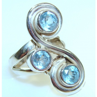 Swiss Blue Topaz .925 Sterling Silver handmade Cocktail Ring size 6